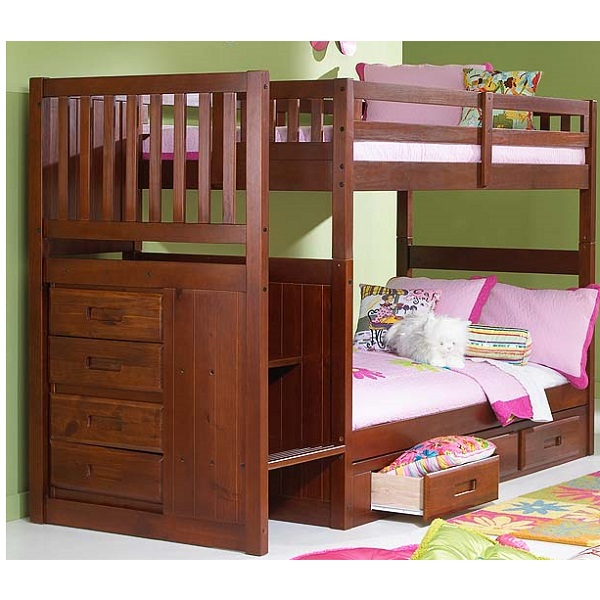Bunk bed with stairs solid pine mission stair step bunk for Bunk beds for kids with stairs