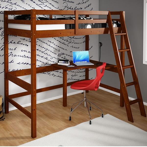 Twin Study Loft Bed Amp Side Desk In Light Espresso Finish