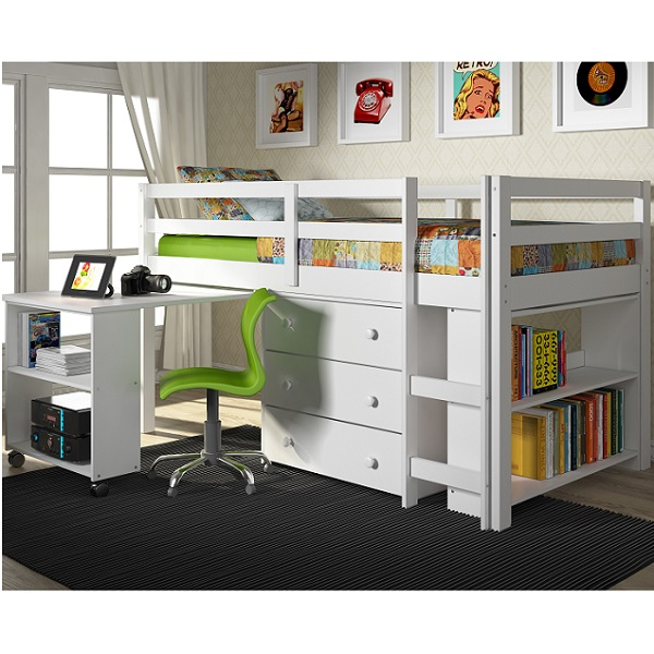 ... Underneath, Chest, and Bookcase in White Finish - Bunk Beds Bunker