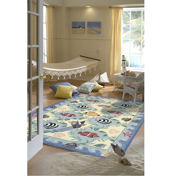 Beach cottage decor hand hooked cotton fish rug for Custom cottage fish house prices