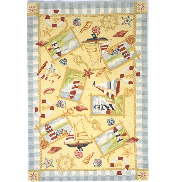 Coastal Area Rugs Cotton Nautical Sandy Beach Rug