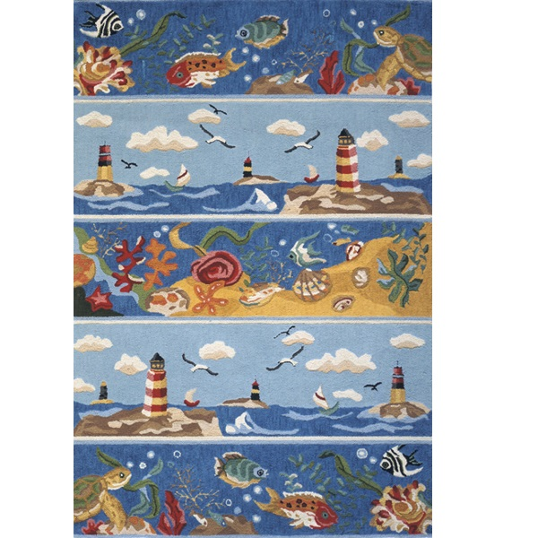 Beach Rugs Shades Of Blue Scenic Coastal Rug