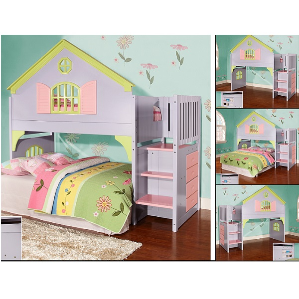 Stair Step Dollhouse Loft Bed Doll House Bed