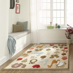 LMJ02 Critters Ivory Themed Area Rugs for Kids Rooms