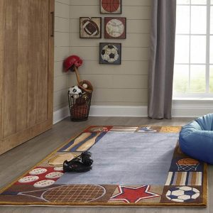 LMJ04 All Star Denim Themed Area Rug for Kids Rooms