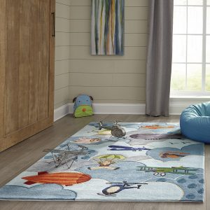 LMJ10 Aviator Themed Area Rug for Kids Rooms