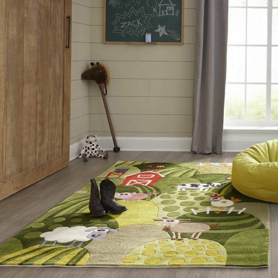 Farm Land Grass Themed Area Rugs for Kids Rooms