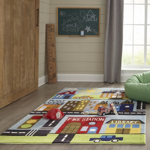 LMJ12 Town Scene Themed Area Rug for Kids Rooms