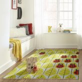 Red ladybug Family Themed Area Rug for Kids Rooms