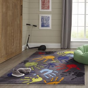LMJ17 Fingerpaint Grey Themed Area Rug for Kids Rooms