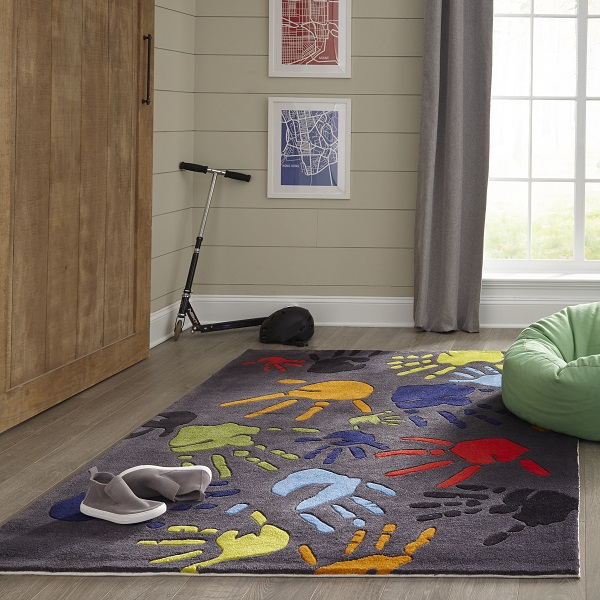 Cool Rugs On Sale Grey Polyester Finger Painting Rug