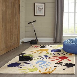 LMJ17 Fingerpaint Ivory Themed Area Rugs for Kids Rooms
