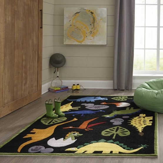 Dinosaur Themed Area Rug for Kids Rooms
