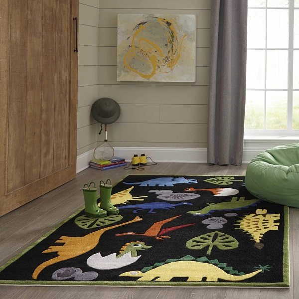 Dinosaur Rug On Sale Black Polyester Hand Tufted