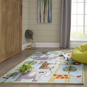 Safari Themed Area Rug for Kids Rooms