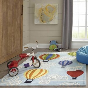 LMJ20 Multicolored Hot Air Balloons Themed Area Rugs for Kids Rooms