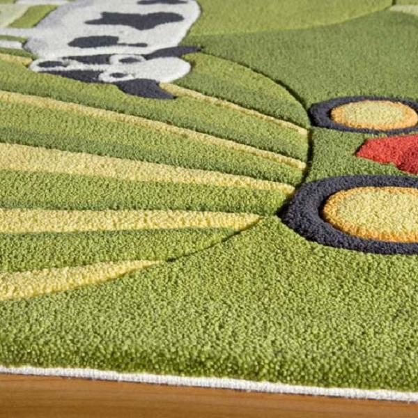 Kids Carpet - Farm Rug - Grass Color Hand Tufted Farm Rug