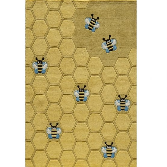 honeycomb & bee rug for kids rooms