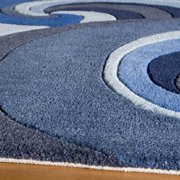 Surfboard Area Rug: Blue 100% Polyester Hand Tufted Surfing Rug