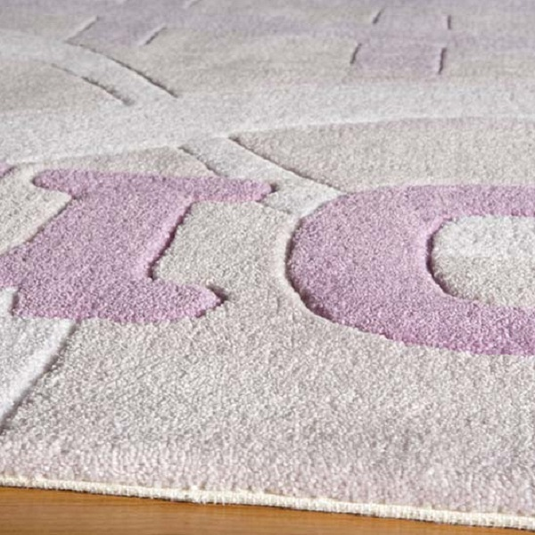 Lilac Polyester Texting Rug