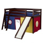 low loft kids bunk bed with slide & curtains