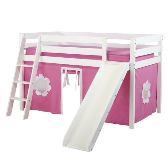 Girls Low Loft Bed in White with Ladder, Slide, and Hot ...