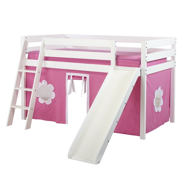 Girls Low Loft Bed In White With Ladder Slide And Hot