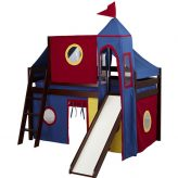Cherry Low Loft Bed w Slide, Blue Red Yellow Curtain Top Tent and Tower