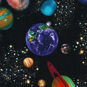 new moon gaze planets fabric for custom bunk bedding