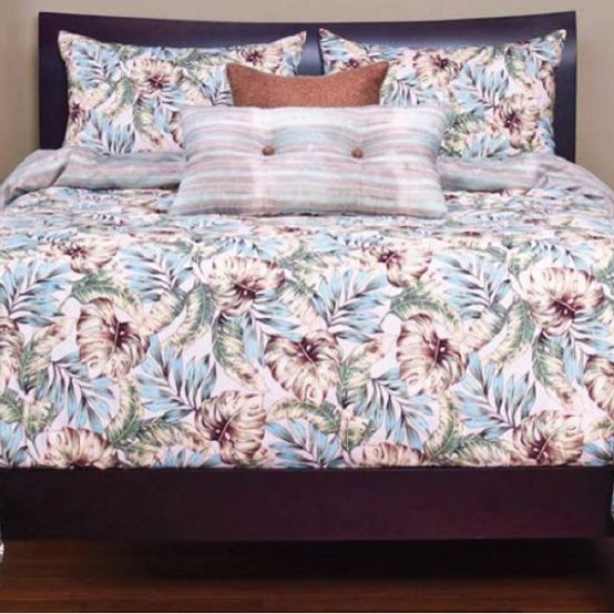 tropical print bedding
