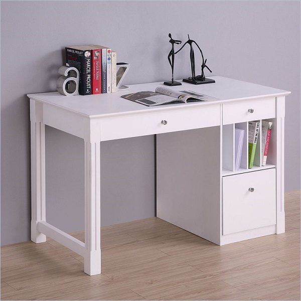 White Desk with Storage 600 x 600