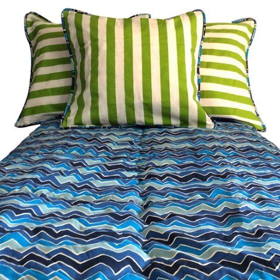Modern Zig Zag Comforter in Shades of Blue