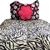 Zebra Bunk Bed Hugger with Mod Floral Hot Pink Accents