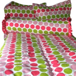 Hot PInk, Light Pink and Chartreuse Large Dot Bedding for Bunk Beds