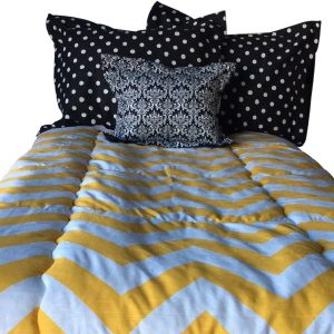 Yellow & White Wide Chevron Bunk Bed Bedding