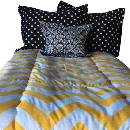 Yellow & White Wide Chevron Bunk Bed Bedding