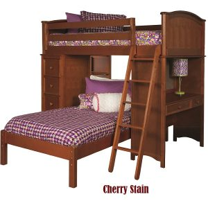 99169931600 Sleep & Study Loft Bed in Cherry Finish - Bolton