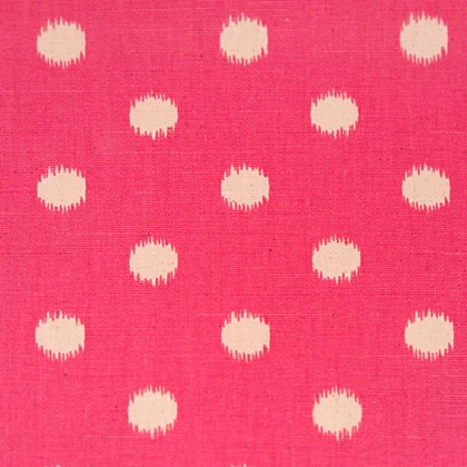Gumdrop Pink Natural Ikat Dot Fabric For Custom Bedding