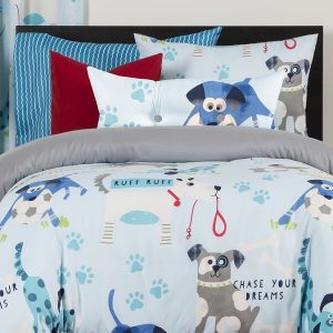 Dog Print Bedding Chase Your Dreams Bed Cap Comforter Set with Sham and Two Toss Pillows