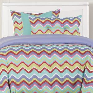 Chevron Bedding Mixed Palette Bed Cap Comforter Set with Sham and Two Toss Pillows