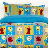 Monster Bedding Monster Friends Bed Cap Comforter Set with Sham and Two Toss Pillows