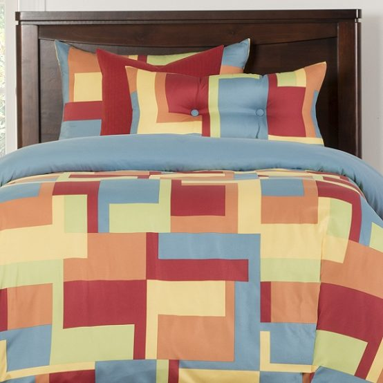 Block Print Bedding Paint Box Bed Cap Comforter Set with Sham and Two Toss Pillows