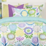Crayola Bedding Pointillest Pansy Bed Cap Comforter Set with Sham and Two Toss Pillows
