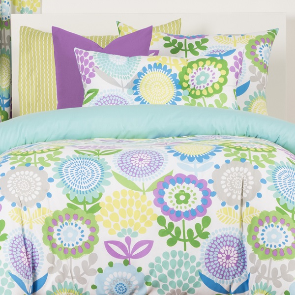 Crayola Bedding Fitted Pointillist Pansy Bed Cap Comforter Set