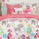Kitty Cat Bedding Purrty Cat Bed Cap Comforter Set with Sham and Two Toss Pillows