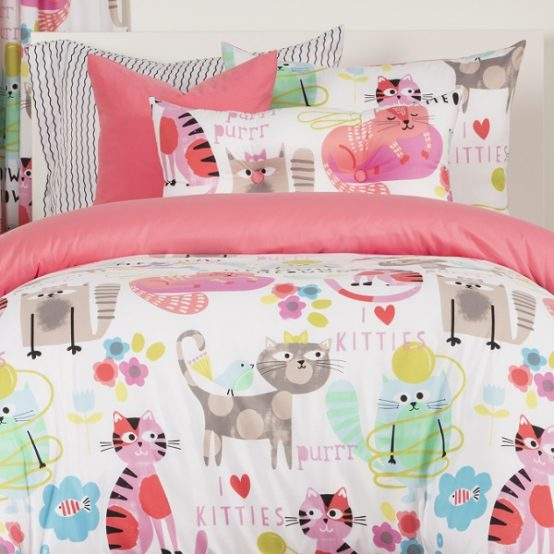 Kitty Cat Bedding Whimsical Purrty Cat Bunk Comforter Set