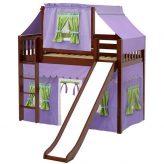 Chestnut Slat Mid Loft Bed with Curtains & Slide