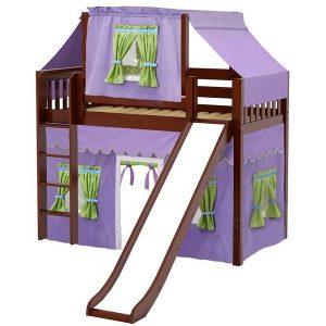 Chestnut Slat Mid Loft Bed with Curtains & Slide
