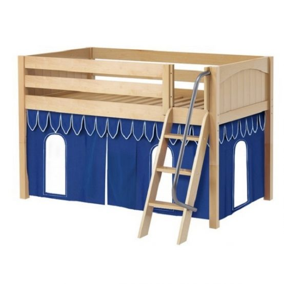 Natural Panel Low Loft Bed with Blue Curtains