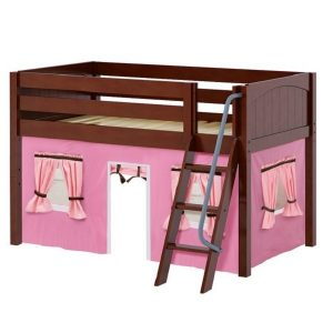 Chestnut Panel Low Loft Bed with Angle Ladder and Pink Curtains